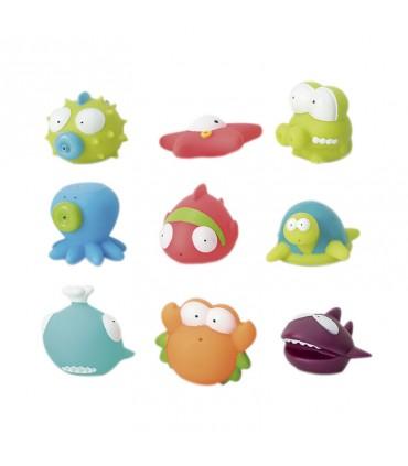 Bote de 9 juguetes de baño Olmitos