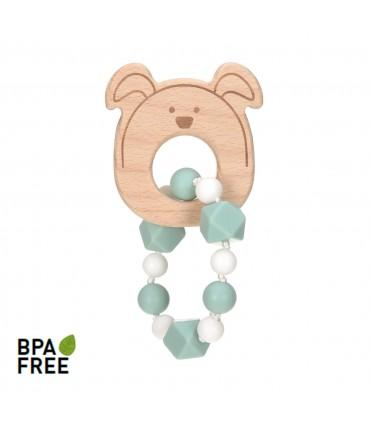 Wood-silicone teether bracelet Lässig